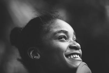 happy portrait of a beautiful black woman