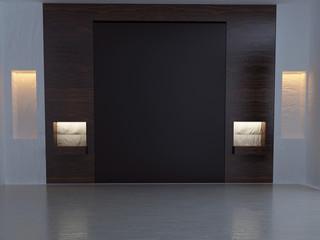 empty dark room in the evening, background, 3d
