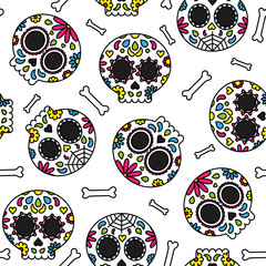 Sugar skull day of the dead cute seamless pattern