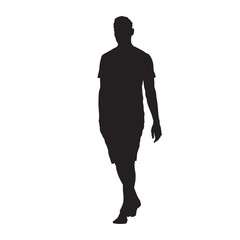 Young man in shirt and shorts walking barefoot, vector silhouette