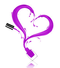 Splash of purple nail polish in the shape of a heart, poured from the bottle on white background