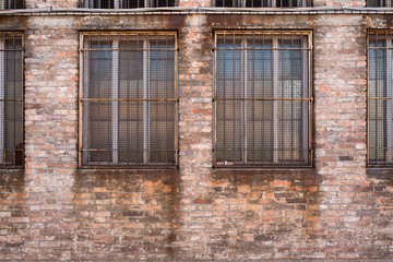 Old building in Murano with grid