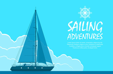 Sailing yacht in the sea. Landscape with luxury yacht on huge blue cloudy sky background. Vector illustration.