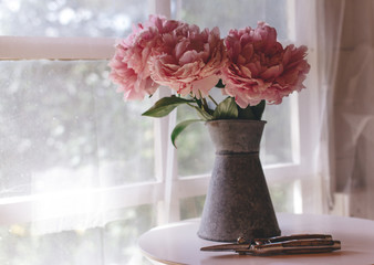 Pink peonies on a white table in front of a window.