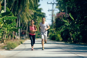 Sporty Couple Jogging Together