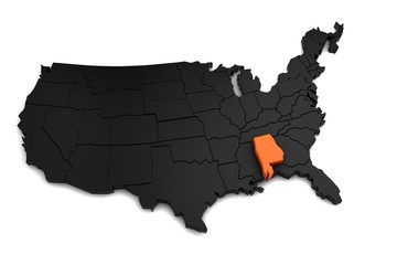 United States of America, 3d black map, with Alabama state highlighted in orange. 3d render