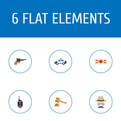 Flat Icons Inspector, Automobile, Revolver And Other Vector Elements. Set Of Crime Flat Icons Symbols Also Includes Spy, Detective, Hammer Objects.