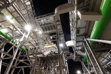 Poster Industrial geb. Industrial installations at night