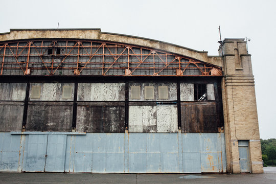An abandoned air plane hangar.