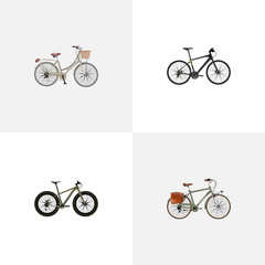 Realistic Bmx, Working , Brand Vector Elements. Set Of  Realistic Symbols Also Includes Postman, Vintage, Working Objects.