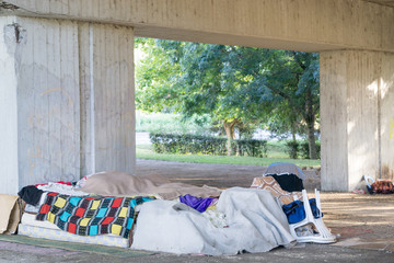 homeless area under the bridge