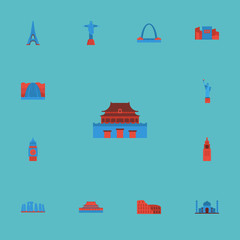Flat Icons Architecture, Waterfall, Paris And Other Vector Elements. Set Of Landmarks Flat Icons Symbols Also Includes Country, Statue, Colosseum Objects.