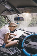 Girl traveling with map