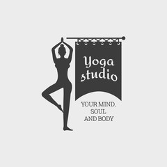 Yoga Studio Symbol Template with a woman making a movement. Vector Logo. This badge can be used for social network and web advertising or brand promotion.