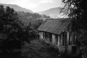 old farm house in black and white