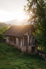 Farm house at sunrise in countryside