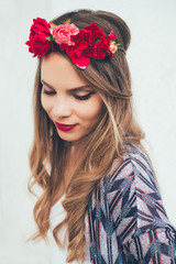 Beautiful Girl with Flower Crown