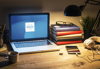 Laptop on Wooden Desk with Lamp Mockup 1