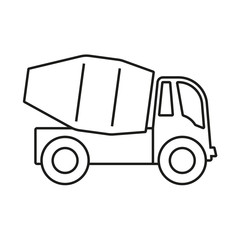 Mixer truck outline icon. Vector Illustration.
