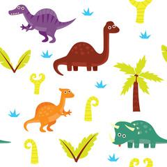 Cute dinosaur seamless pattern. Dinosaur theme wallpaper and wrapping paper design set.