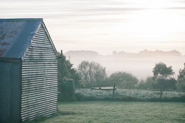 Frosty morning on the farm
