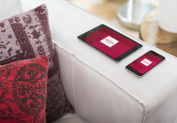 Tablet and Smartphone on Couch Mockup 1