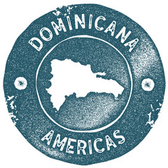 Dominicana map vintage stamp. Retro style handmade label. Dominicana badge or element for travel souvenirs. Rubber stamp with country map silhouette. Vector illustration.