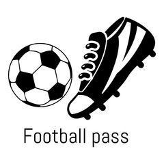 Football pass icon, simple black style