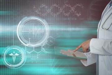 Composite image of female doctor using digital tablet