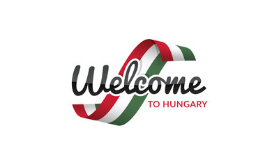 Welcome to Hungary flag sign logo icon
