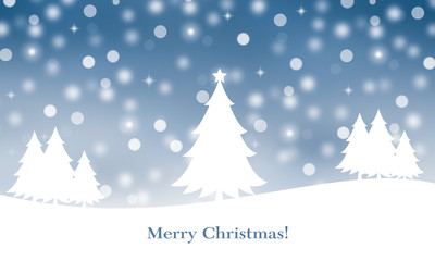 Winter landscape background with merry christmas text.