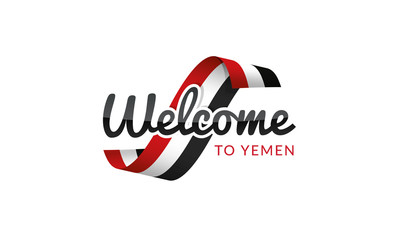 Welcome to Yemen flag sign logo icon