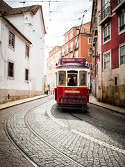 Lisbon Tram In Alfama Area Portugal