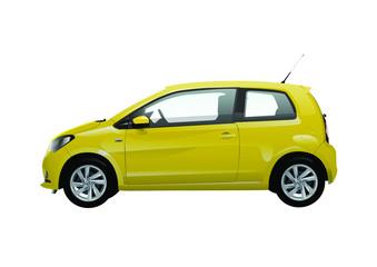 Small yellow city car vector illustration