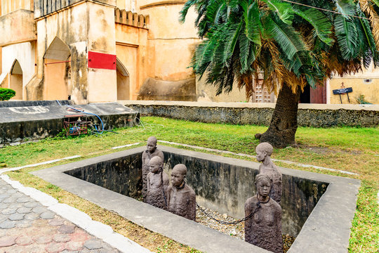 Slavery Memorial at Old Slave Market/Anglican Cathedral in Stone Town, Zanzibar, Tanzania.