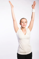 fitness woman over white background