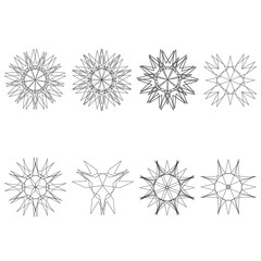 Holiday patterns of stars of snowflakes and flowers for gifts