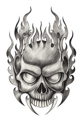 Art Skull tattoo.Hand pencil drawing on paper.