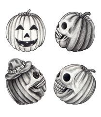Art pumpkin skulls Halloween day. Hand pencil drawing on paper.