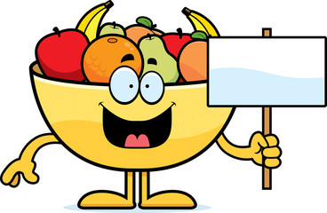 Cartoon Bowl of Fruit Sign