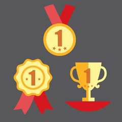 Medal, Trophy, and Ribbon Award Icon Set
