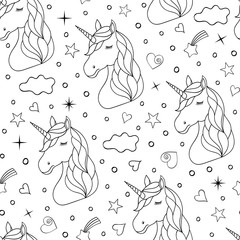 Seamless pattern of hand drawn unicorns