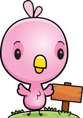 Cartoon Baby Pink Bird Wood Sign