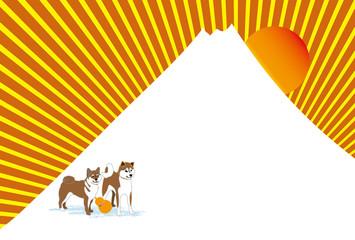 二匹の柴犬と日の出の富士山のポストカード