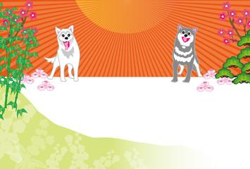 二匹の犬と日の出と松竹梅のイラストのポストカード