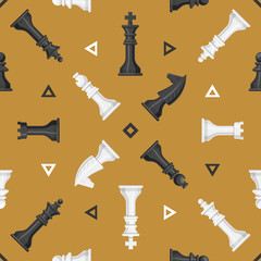 Chess piece board seamless pattern background play leisure concept knight group white and black competition vector illustration