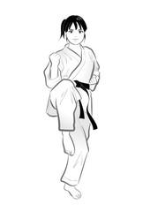 空手ポーズ・蹴り・女性