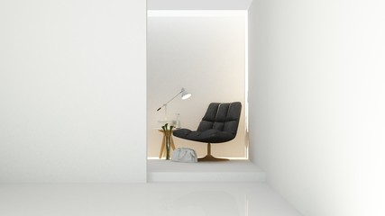 The interior relax space furniture and background white decoration minimal in hotel - wall empty space 3d rendering