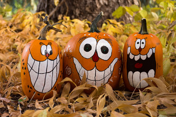 Three smiling and laughing pumpkins with painted faces that have oval eyes and big teeth. The pumpkins are sitting in dried leaves.