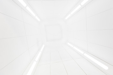Spaceship interior center view with bright white texture, futuristic interior corridor, space ship, Futuristic architecture,